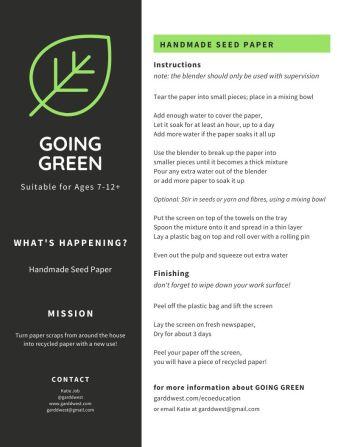 Garddwest GOING GREEN - Handmade Seed Paper - pg 2