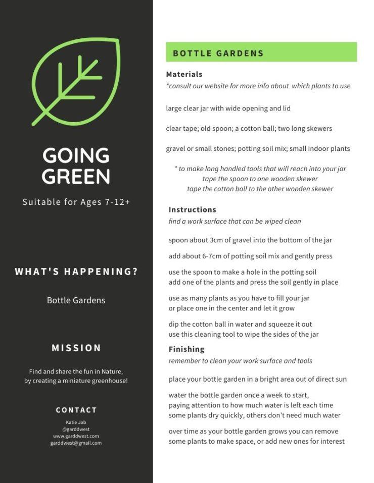 April 7 - GOING GREEN - Bottle Gardens - Garddwest EcoEducation