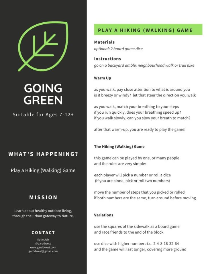 April 8 - GOING GREEN - The Walking Game - Garddwest EcoEducation